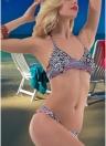 Sexy Mujeres halter Wire Free Padded Cup Tanga de cintura baja Biquini Bikini Set