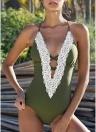 Frauen One Piece Bikini Bademode Halter Spitze Backless Riemchen Monokini Badeanzüge Beach Wear