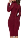 Elegant Mock Neck Long Sleeve Women's Bandage Dress