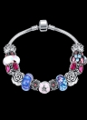 Colorful Crystal Beads Silver Plated Metal Chain Bracelet