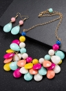 Charm Vintage Beads Pendant Crystal Choker Necklace with Earrings