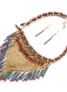 Charm Vintage Sequins Pendant Chain Crystal Choker Necklace with Earrings