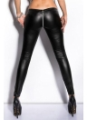 Wet Look Zippered Leather Leggings