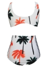 Women's Palm Tree Printed Stripe High Waist Bikini
