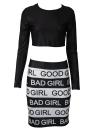 Good Girl Bad Girl Print Long Sleeve Skirt Set