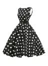 Vestido de oscilación floral Negro retro del estilo de los años 50 en blanco