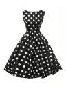 Стильный 50-х годов Свинг платье ретро черный цветочные в белом