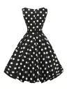 Retro Black Floral Swing Robe élégante 50 en blanc