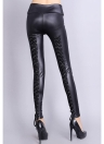 Lace Up Back Stretch Leather Leggings
