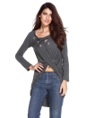Women's Lace Up Long Sleeve Ruched T-shirt