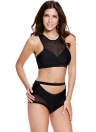 Black Mesh Spicy High-waist Racer Bikini