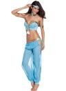 Traje azul bailarín atractivo del bailarín de vientre