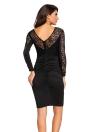 Цветочный Аппликация кружева Ruched Bodycon Midi платье