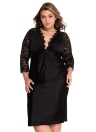 Plus Size Cocktail Dress with Lace Sleeves