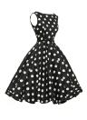 Stylish 50's Retro Black White Plain Swing Dress