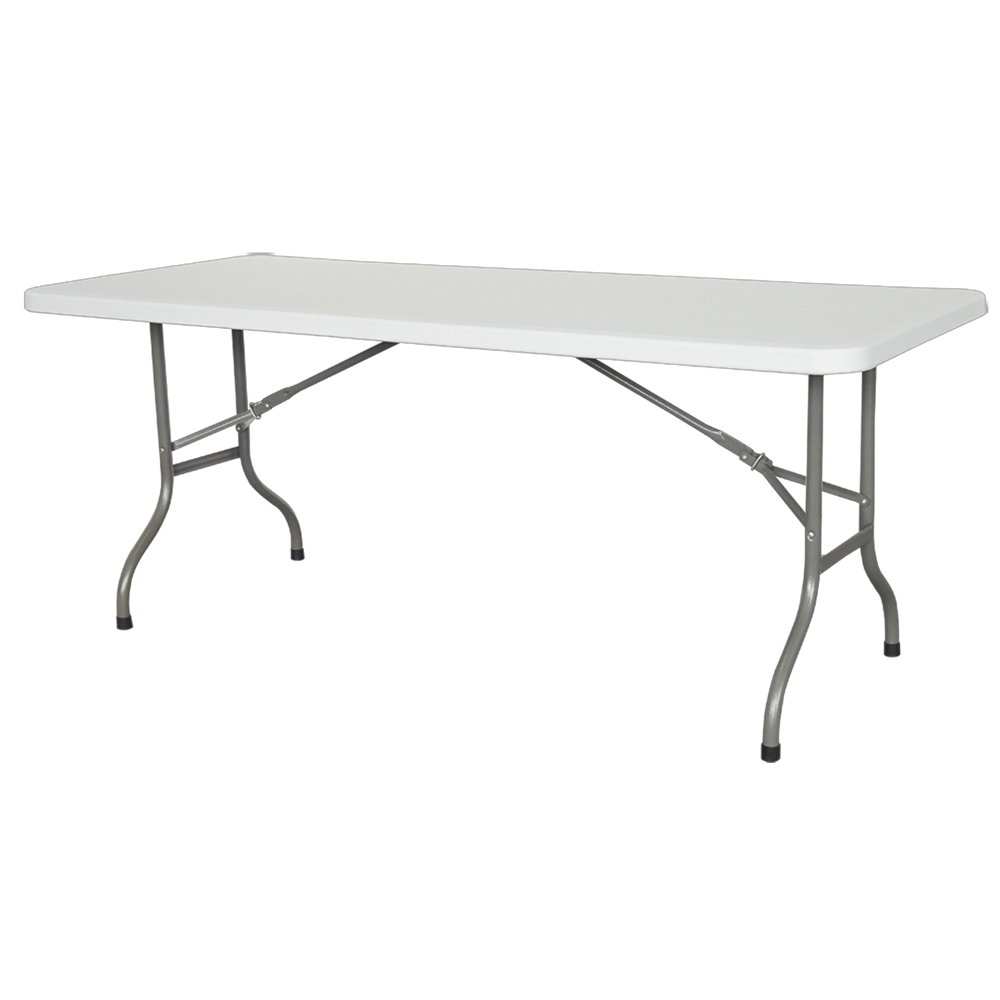 table de r ception pieds pliants plateau uni 180cm blanc. Black Bedroom Furniture Sets. Home Design Ideas