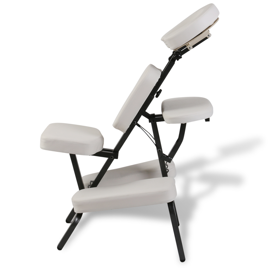 White massage chair collapsible and portable white - Portable reflexology chair ...