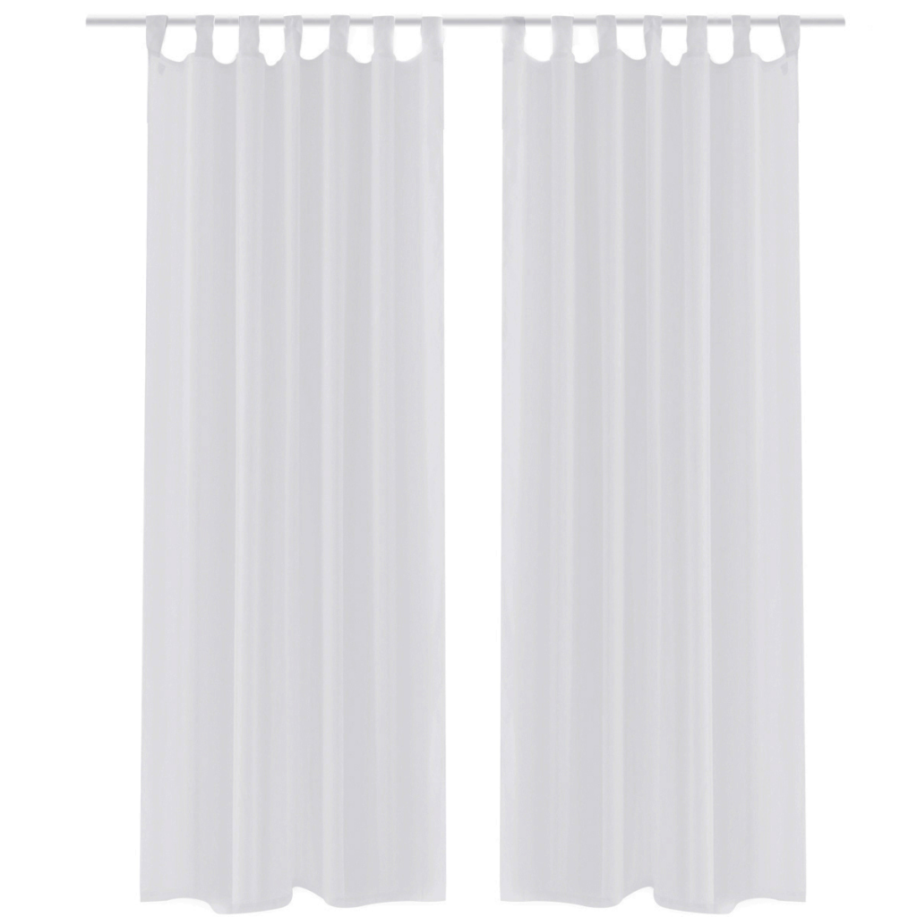 white sheer curtain 140 x 175 cm 2 pcs - White Sheer Curtains
