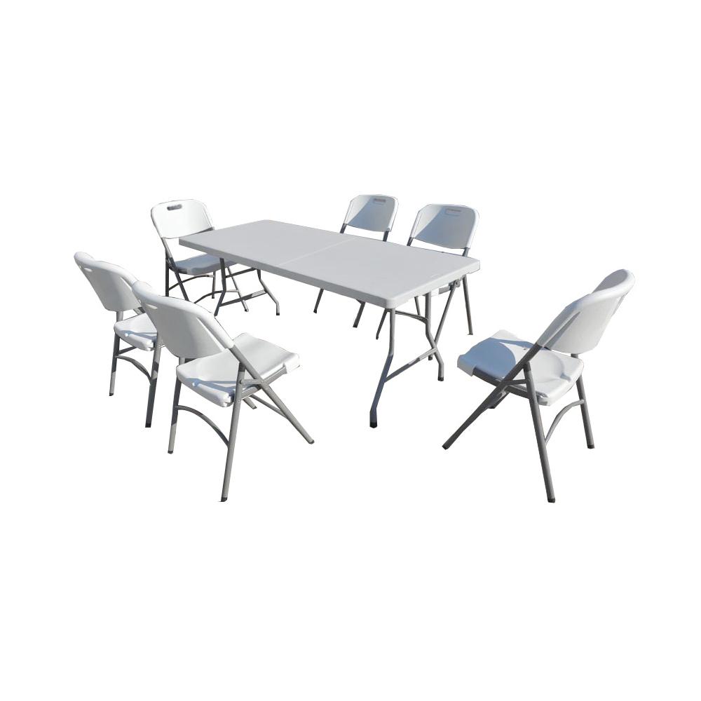 Lot de r ception table plateau uni et 6 chaises pliantes - Table de reception pliante ...