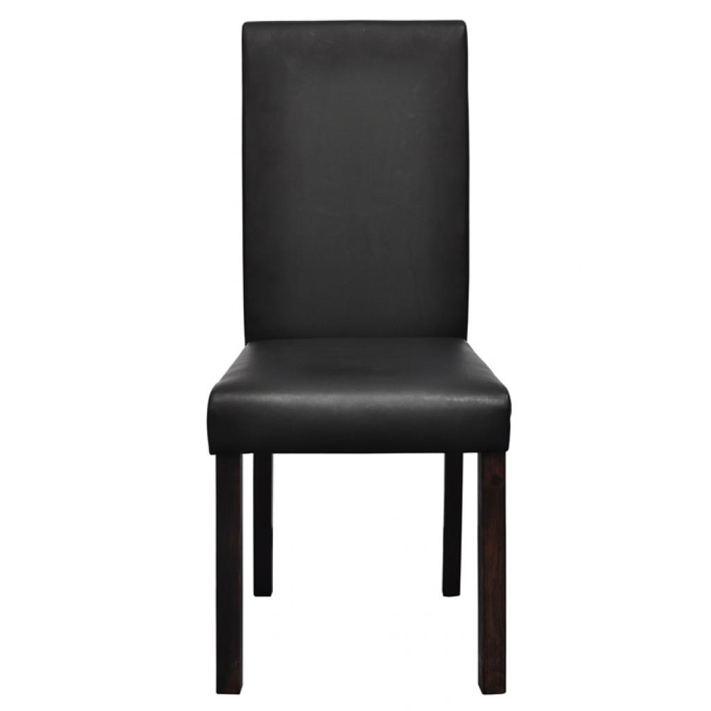 Lot de 6 chaises de salle manger simili cuir noir for Chaise de salle a manger noir