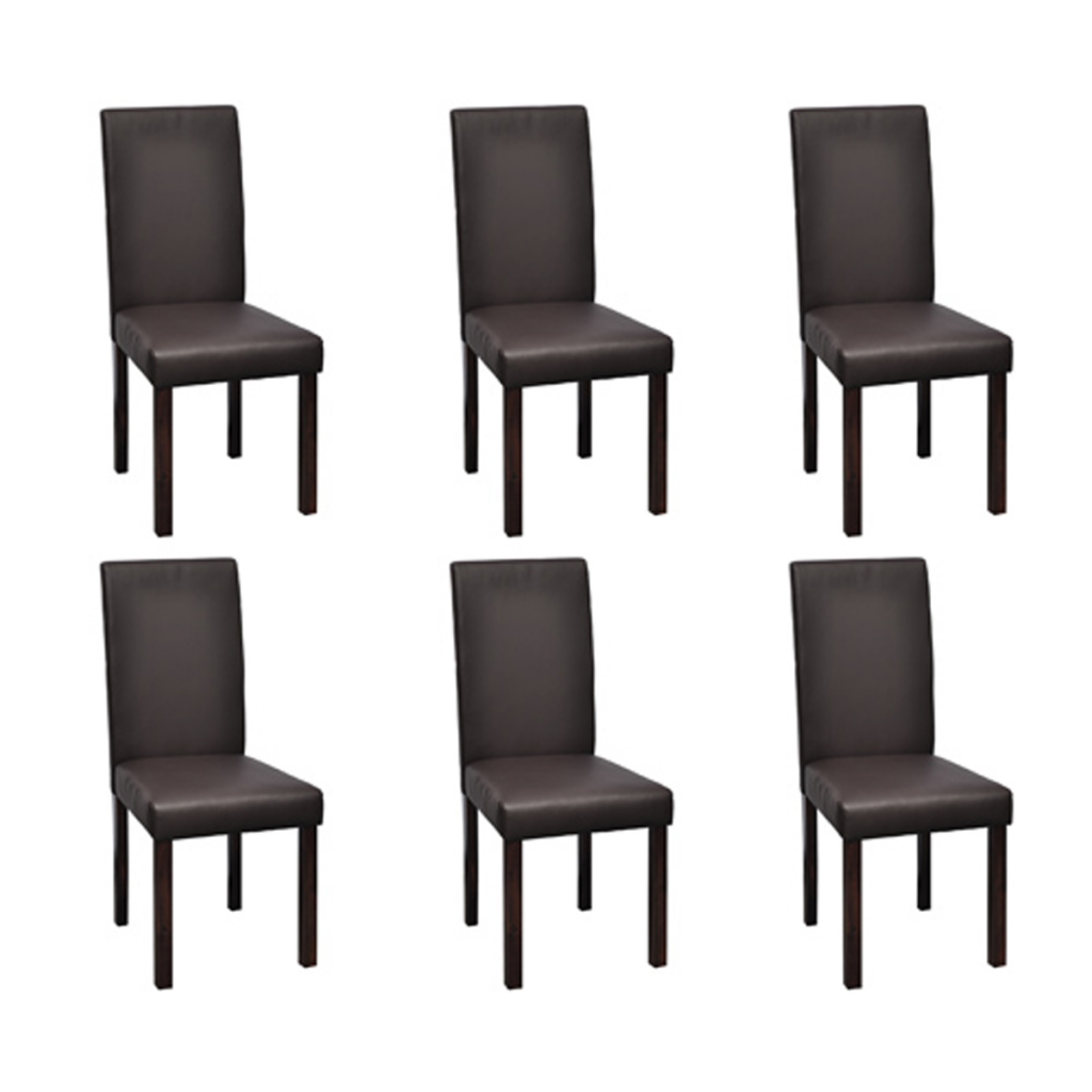 lot de 6 chaises de salle manger simili cuir marron interougehome. Black Bedroom Furniture Sets. Home Design Ideas