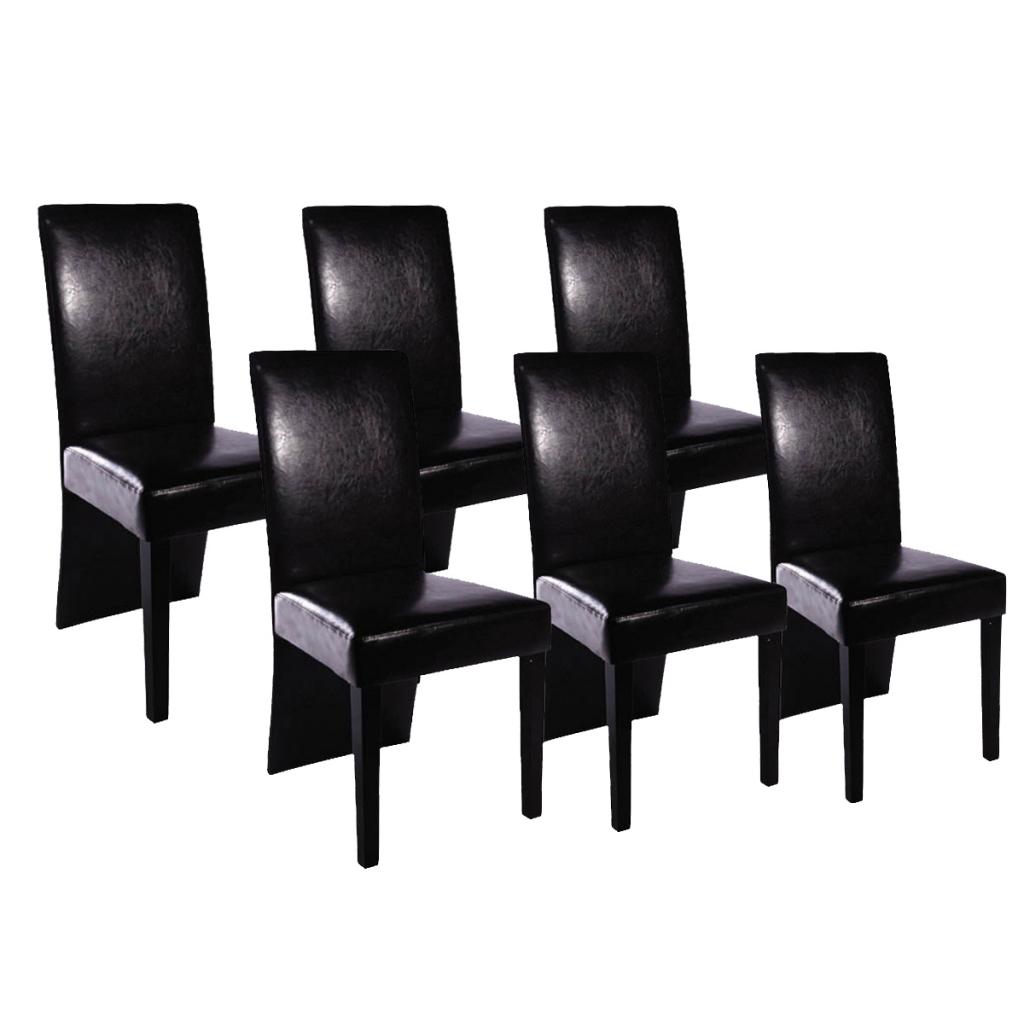Des 249 99 Lot De 6 Chaises Design Simili Cuir Noir