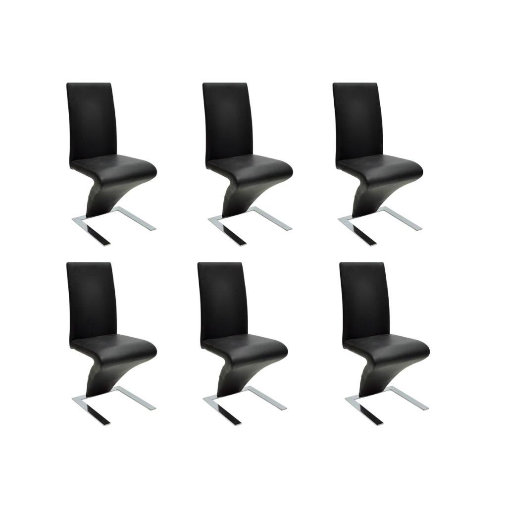lot de 6 chaises design en simili cuir noir interougehome. Black Bedroom Furniture Sets. Home Design Ideas