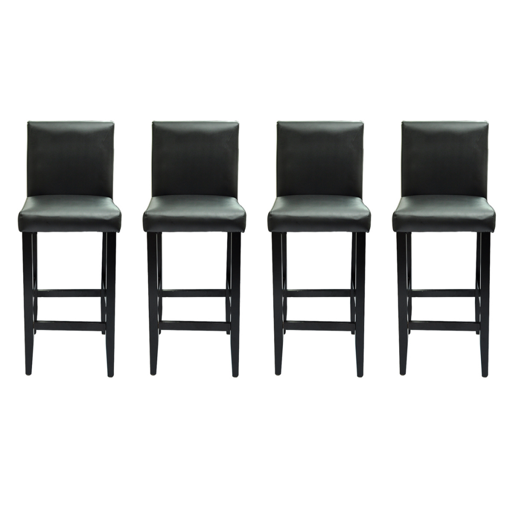 tabouret de bar 4 pcs cuir artificiel noir. Black Bedroom Furniture Sets. Home Design Ideas