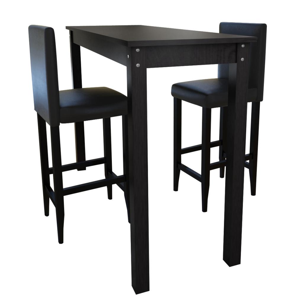 set de 1 table de bar et 2 tabourets noir. Black Bedroom Furniture Sets. Home Design Ideas