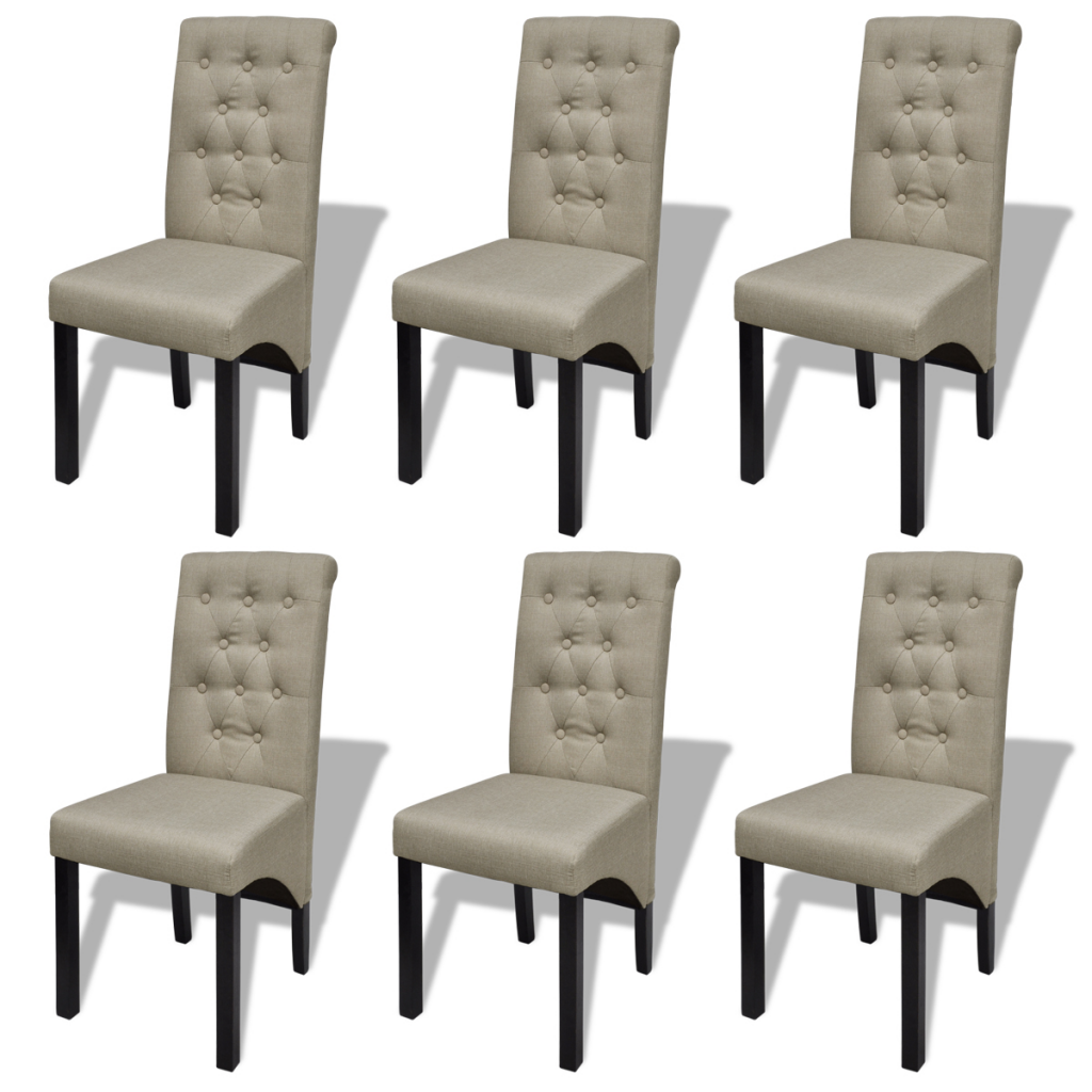 lot de 6 chaises capitonn es en simili cuir beige interougehome. Black Bedroom Furniture Sets. Home Design Ideas