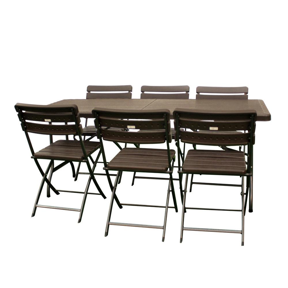 ensemble de jardin table pliante 180cm et 6 chaises pliantes effet bois. Black Bedroom Furniture Sets. Home Design Ideas