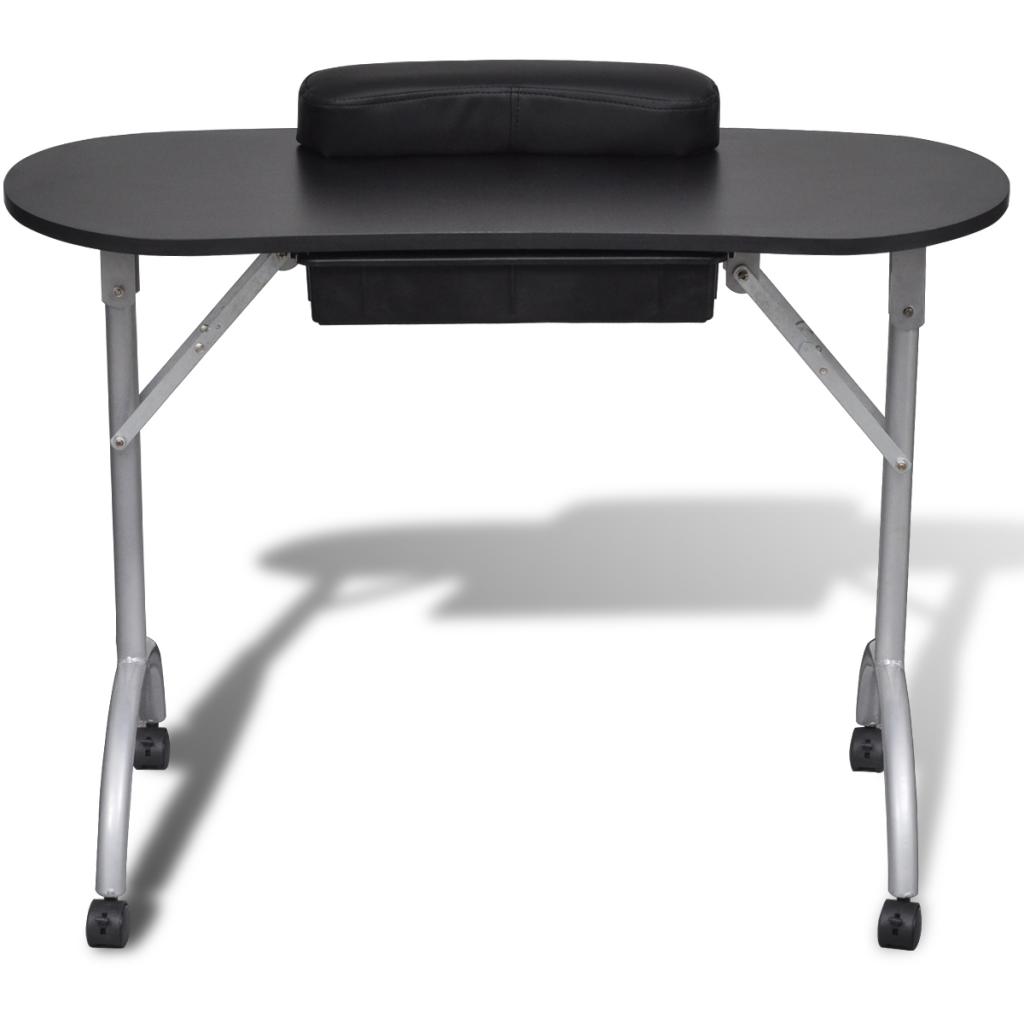 black Black Foldable Manicure Nail Table with Castors - LovDock.com