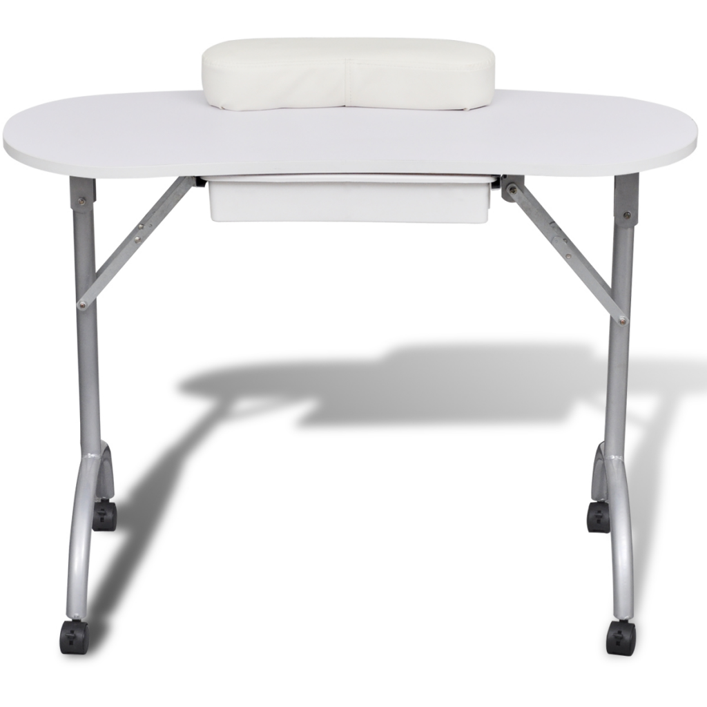 White Foldable Manicure Nail Table With Castors