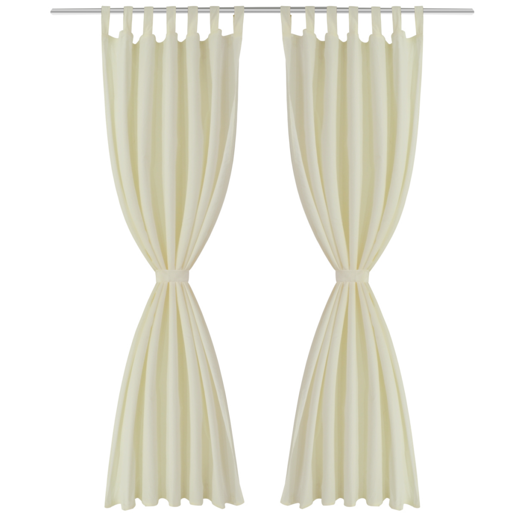 2 Pcs Cream Micro Satin Curtains With Loops 55 X 96