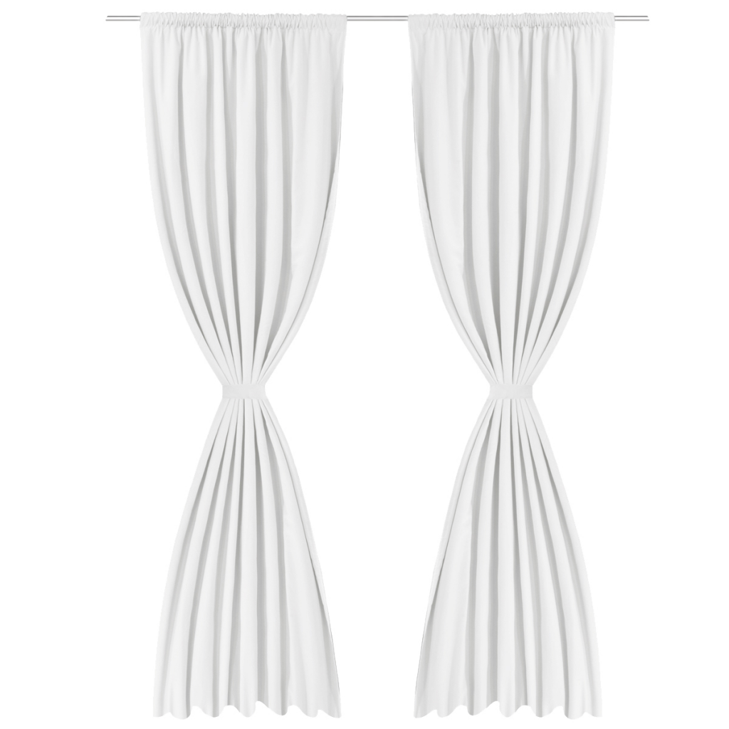 2 Pcs White Energy Saving Blackout Curtains Double Layer 55 X 96