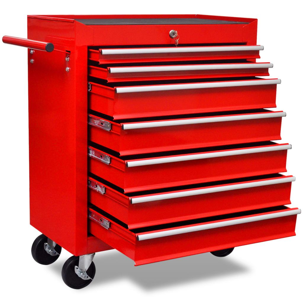 red red workshop tool trolley 7 drawers. Black Bedroom Furniture Sets. Home Design Ideas