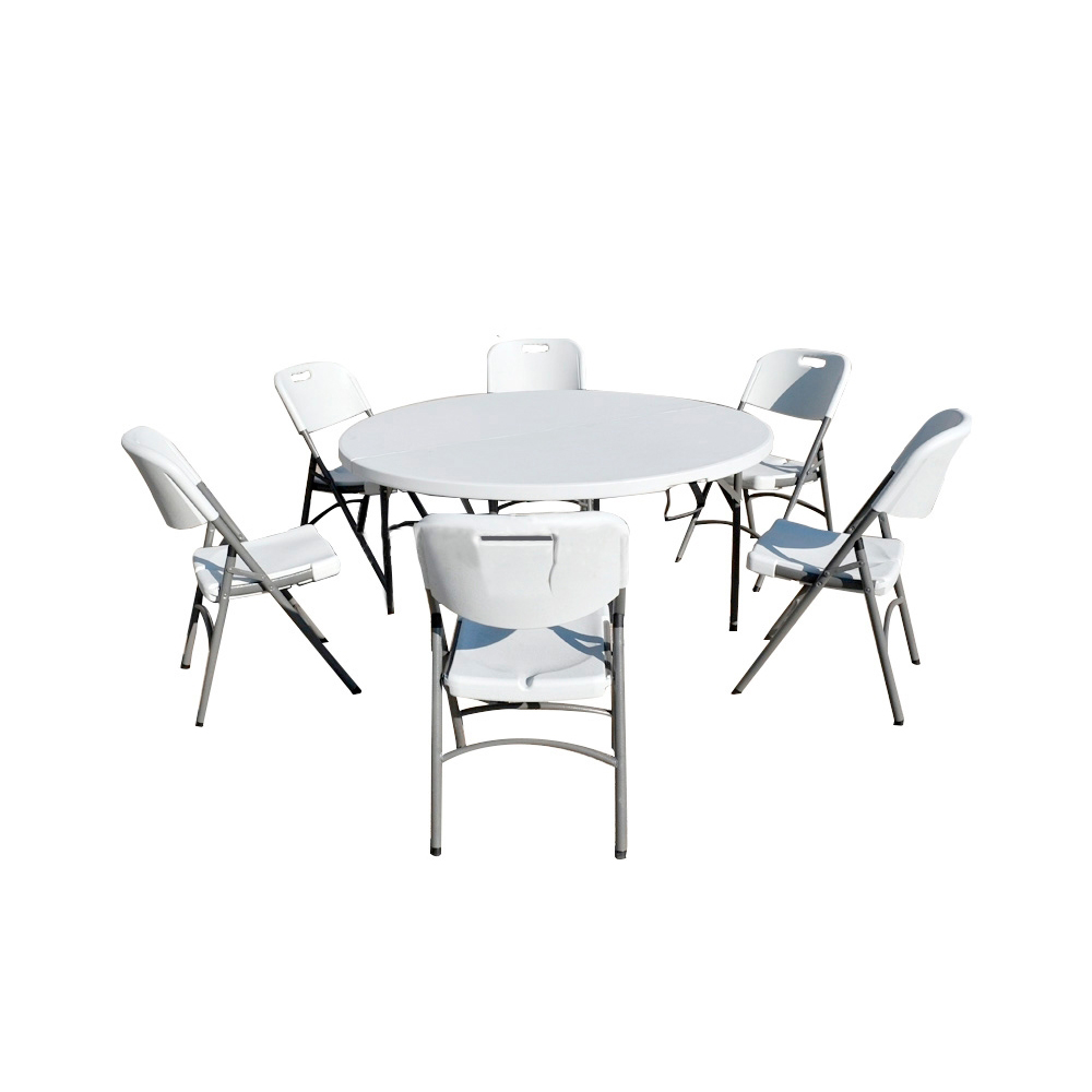 ensemble table de jardin pliante ronde 150cm et 6 chaises. Black Bedroom Furniture Sets. Home Design Ideas