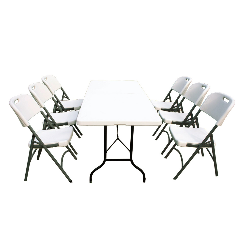 Ensemble table de jardin pliante 183cm et 6 chaises pliantes for Ensemble chaise et table de jardin