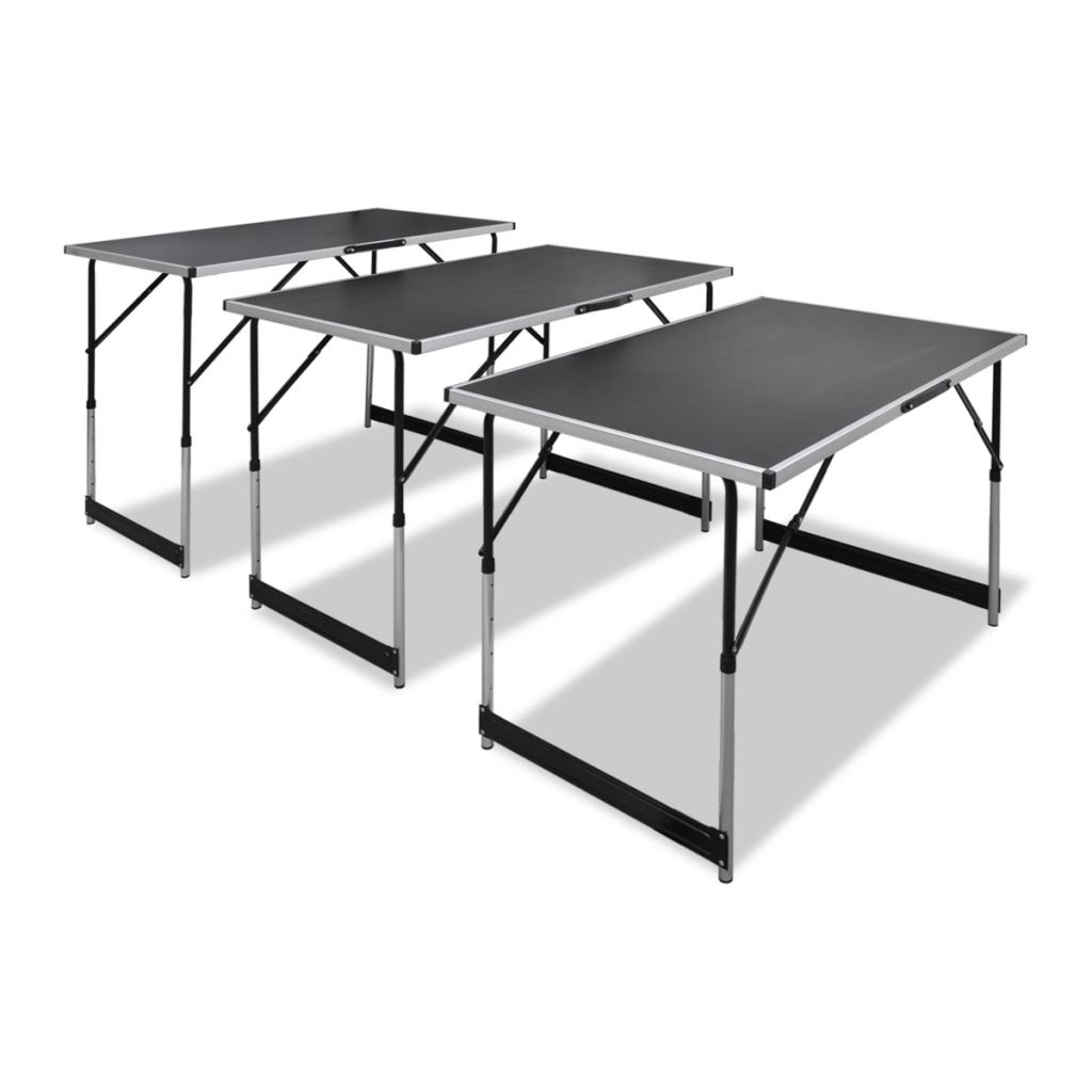 3x Folding Height Adjustable Work Table