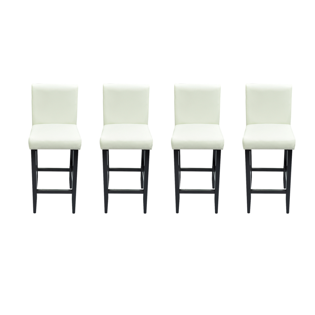white set of 4 modern stools bar in white artificial leather