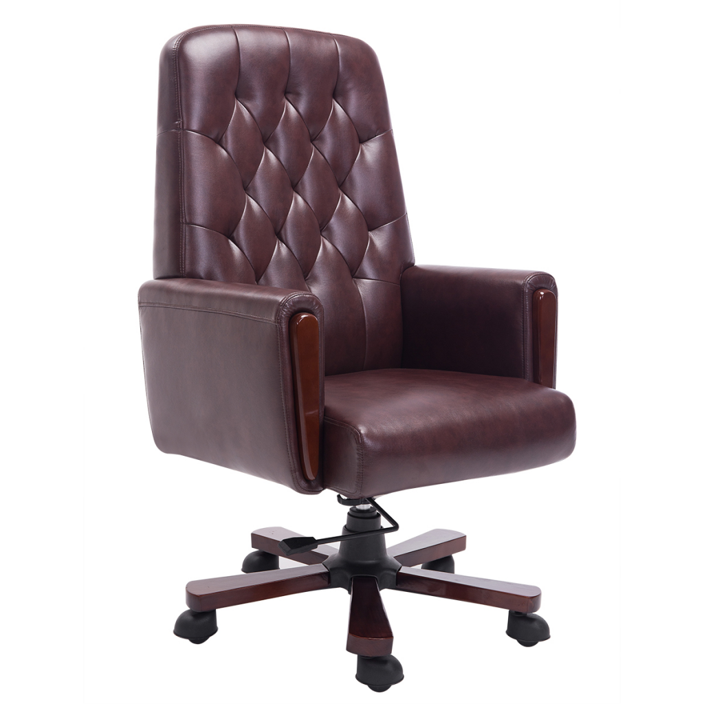 Office Chair Chesterfield Artificial Brown Leather
