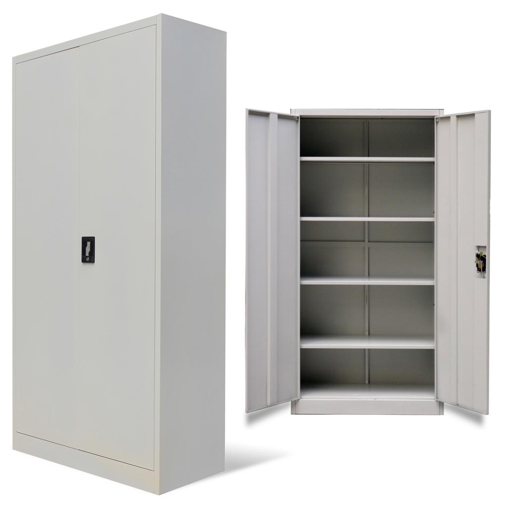 Nur 170.69€, Metallschrank für Büro mit 2 Türen 180 cm grau ...
