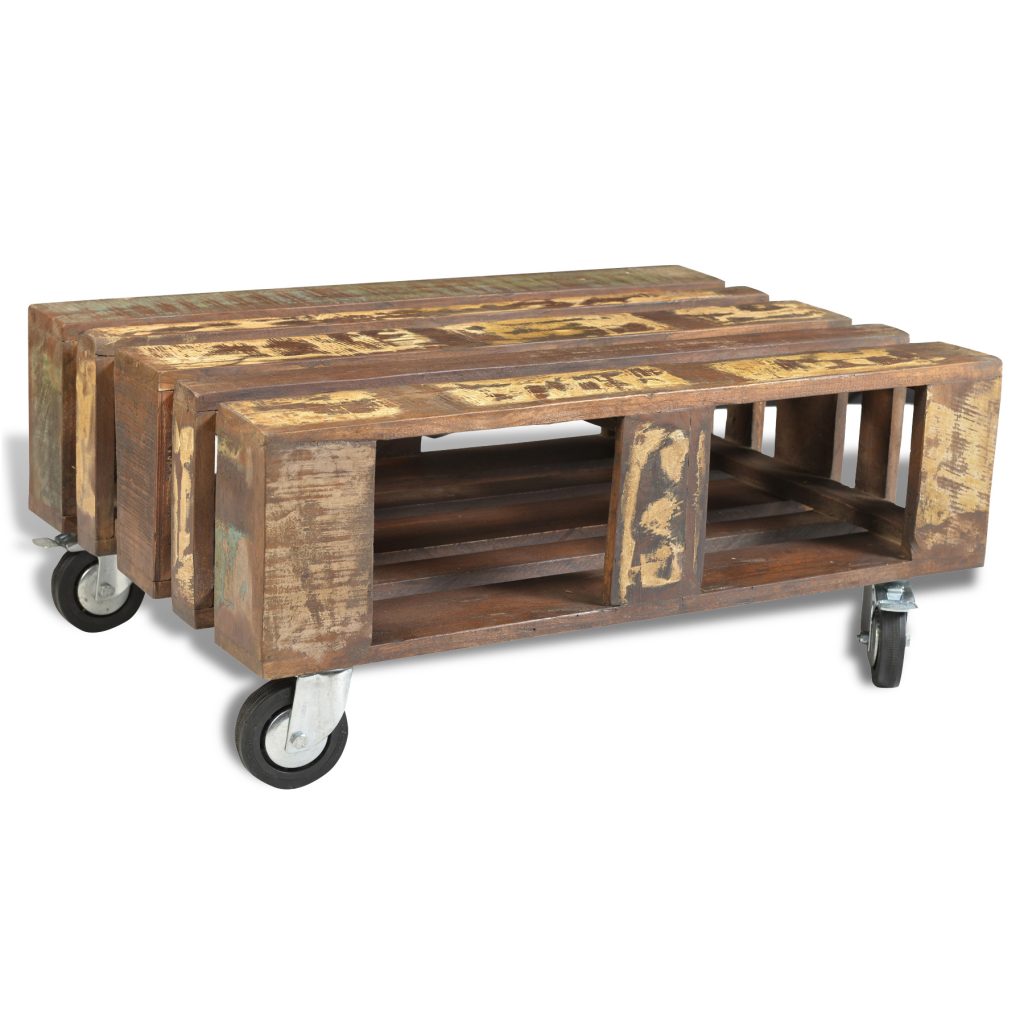 Industrial Cart Coffee Table Australia: Wood Wooden Coffee Table Recycled Old Style With 4 Wheels