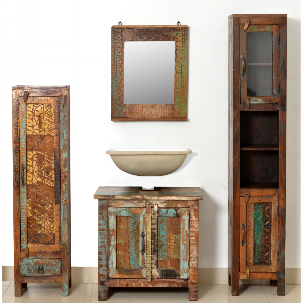 Set Antique Wood Bathroom Mirror and Two Side Cabinets - Brown Set Antique Wood Bathroom Mirror And Two Side Cabinets