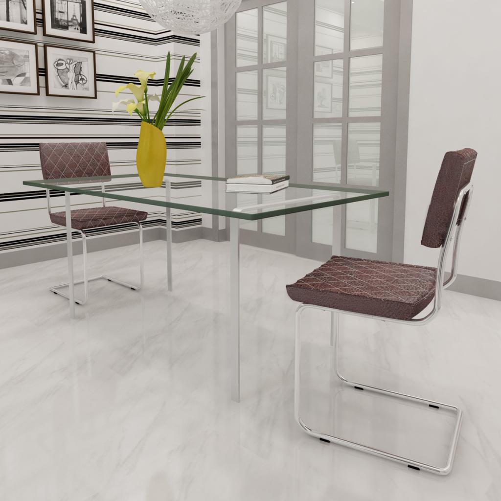 nur stuhl tisch kunstleder braun 2 st ck. Black Bedroom Furniture Sets. Home Design Ideas