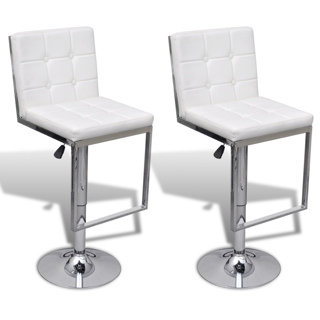 white 2 Adjustable Swivel Bar Stools Faux Leather High ...
