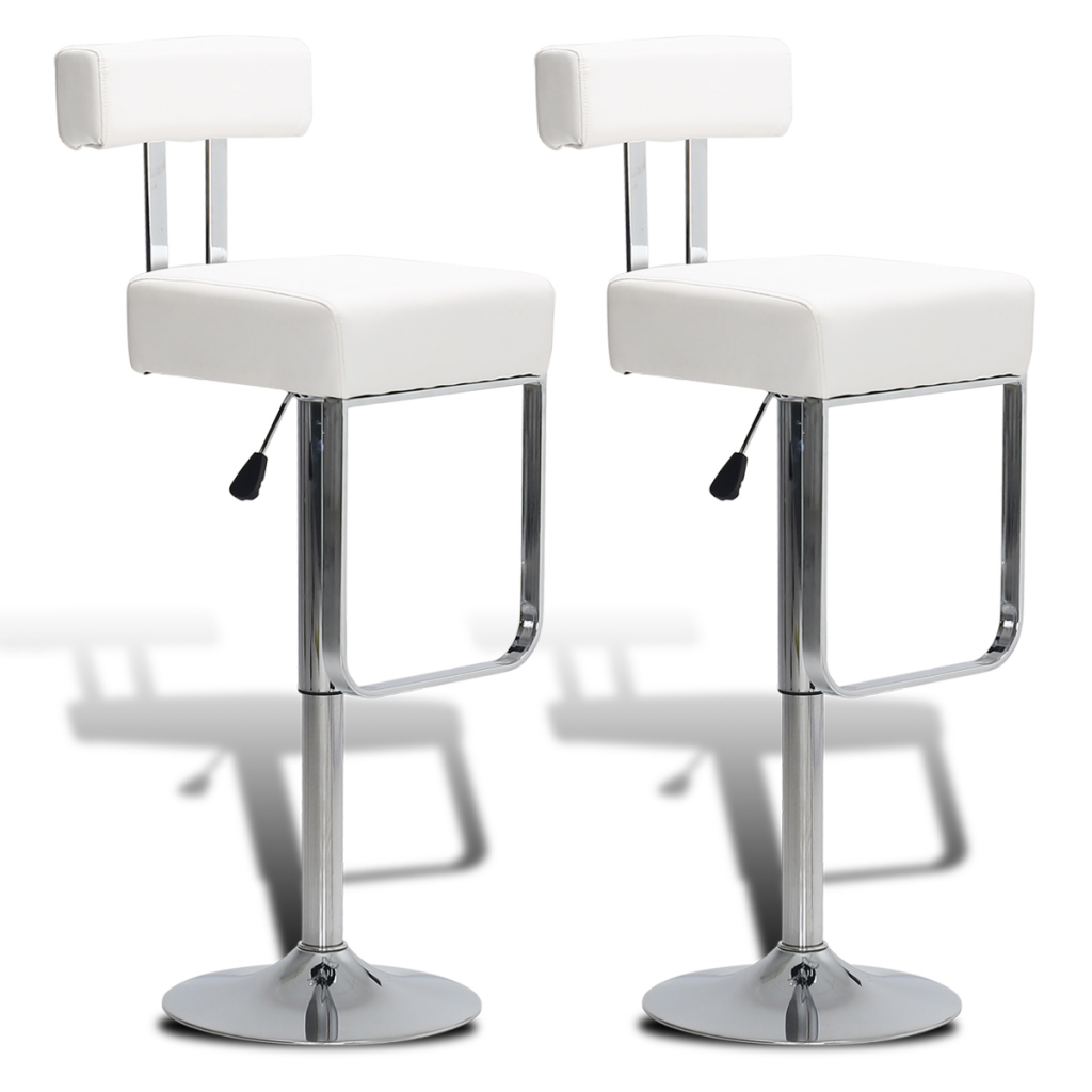 White 2 Swivel Bar Stools Adjustable Faux Leather White