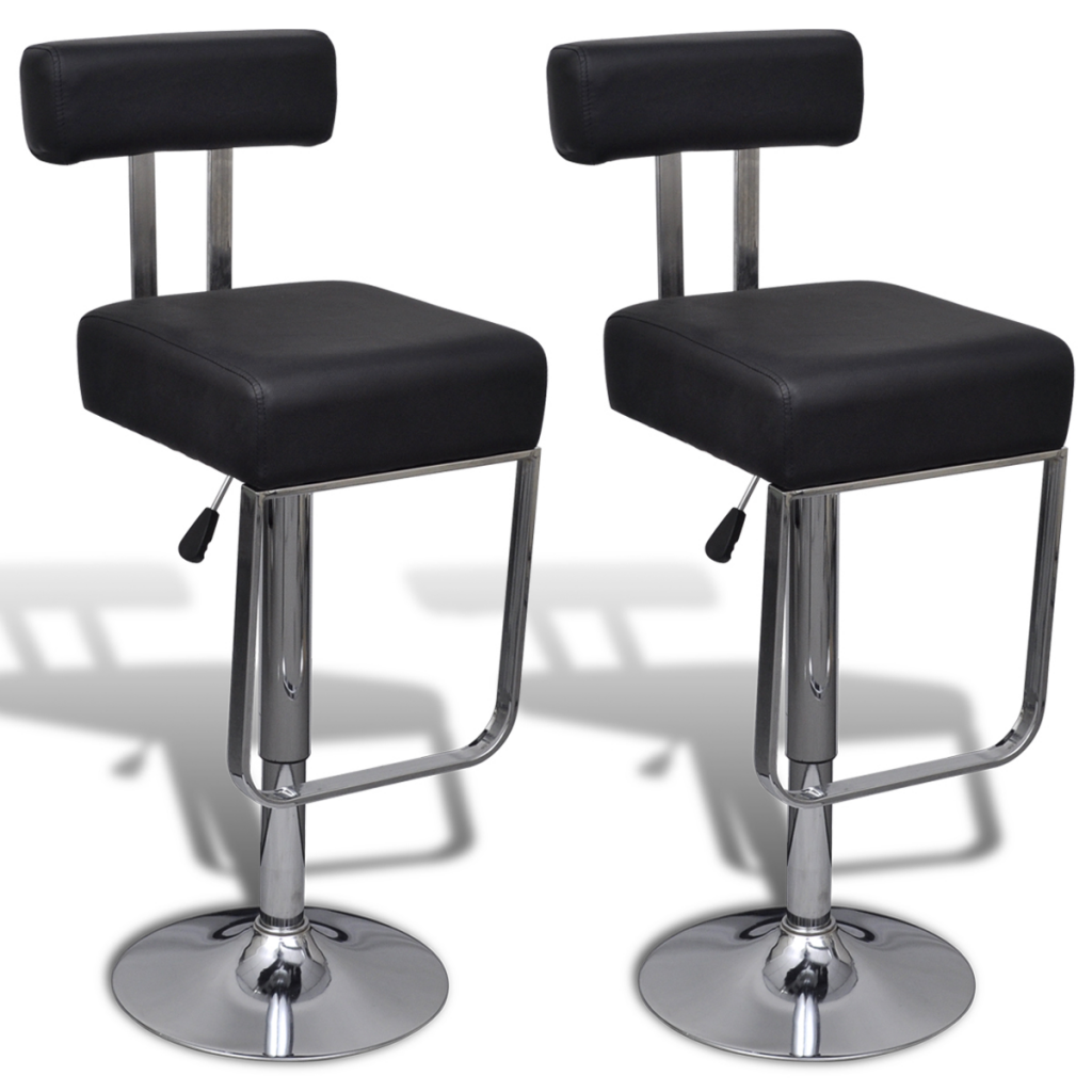 Black 2 Swivel Bar Stools With Adjustable Faux Leather