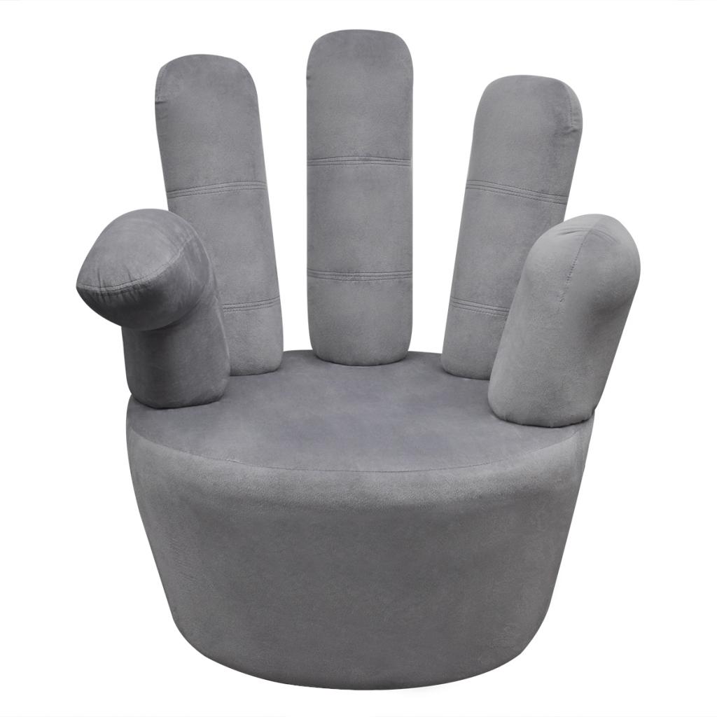 Gray Velvet Armchair Shaped Like A Hand
