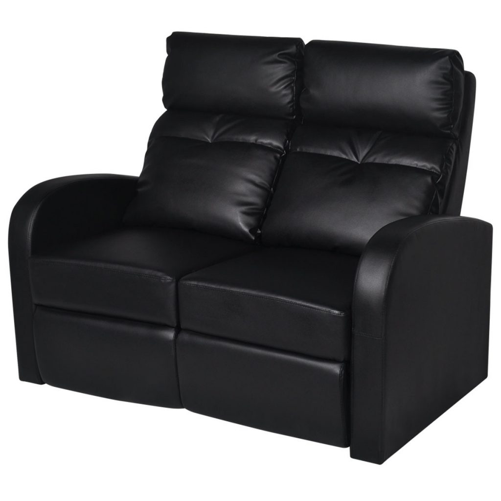 Sofa Home Cinema Two Reclining Seats In Black Artificial Leather
